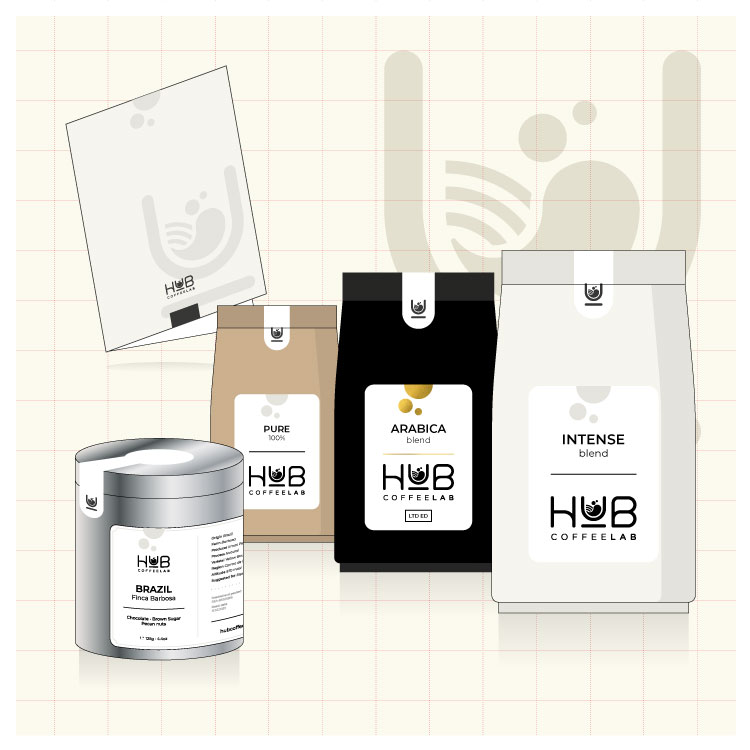 Corporate identity & packaging per HUB CoffeeLab
